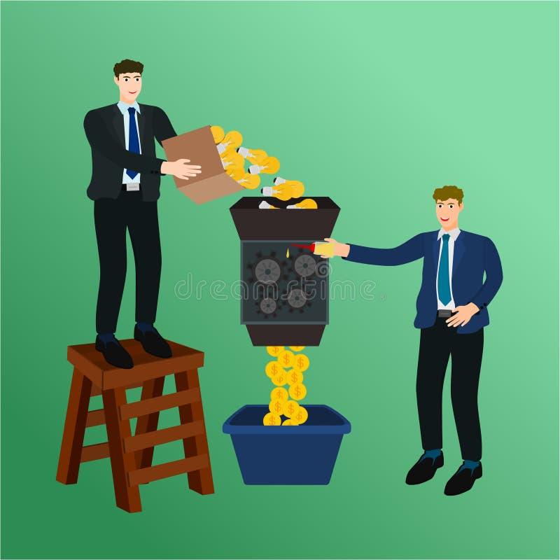 Affärsmannen satte idé i pengarmaskinbegrepp stock illustrationer