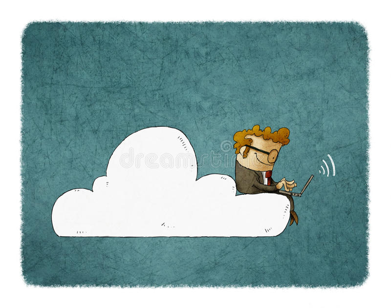 Affärsmannen sitter på ett moln med bärbara datorn på hans knä stock illustrationer