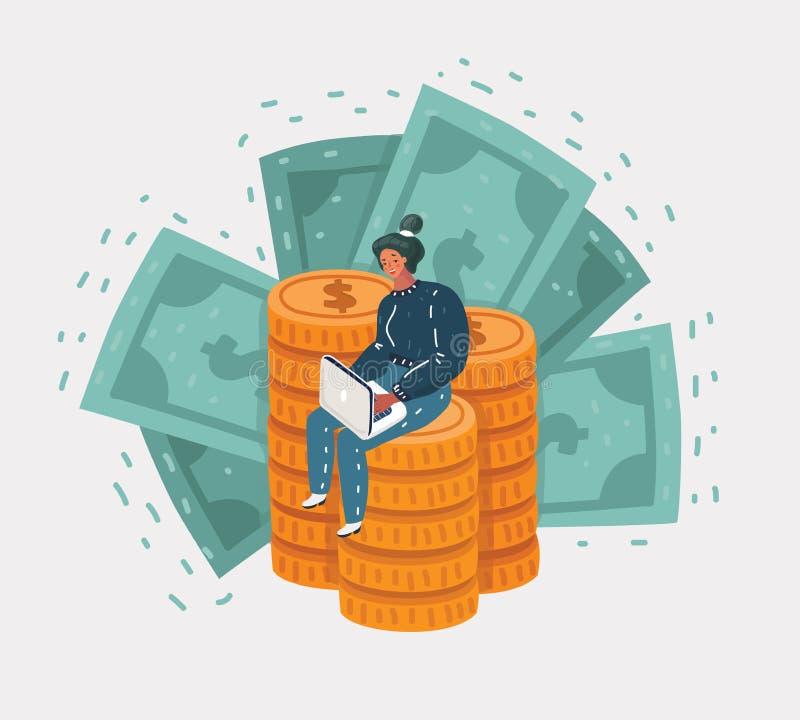 Affärsmannen sitter på ett stort berg av guld- mynt vektor illustrationer