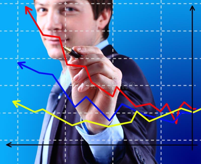 Affärsmannen skriver grafen royaltyfri bild