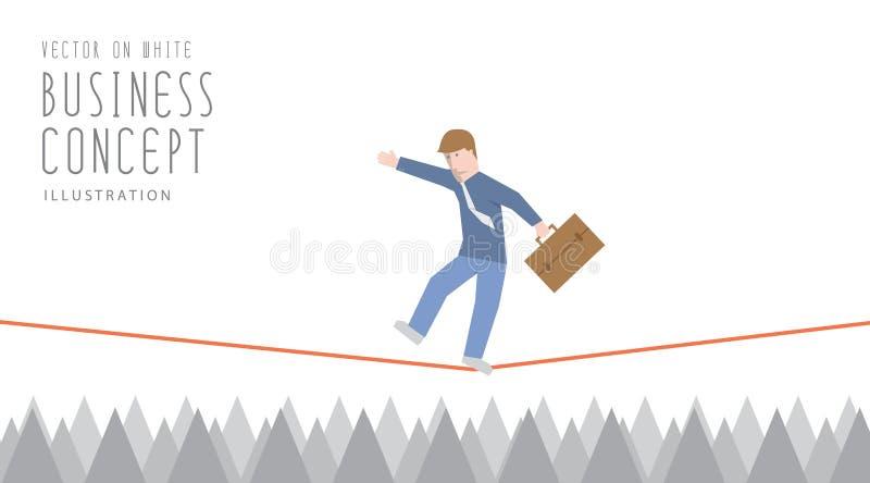 Affärsmannen som är balanserad på ett rep över skarpa taggar, sänker vect vektor illustrationer