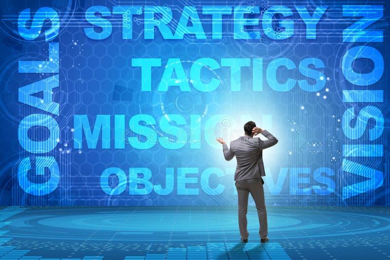 Affärsmannen som är förvirrad med strategiska mål fotografering för bildbyråer