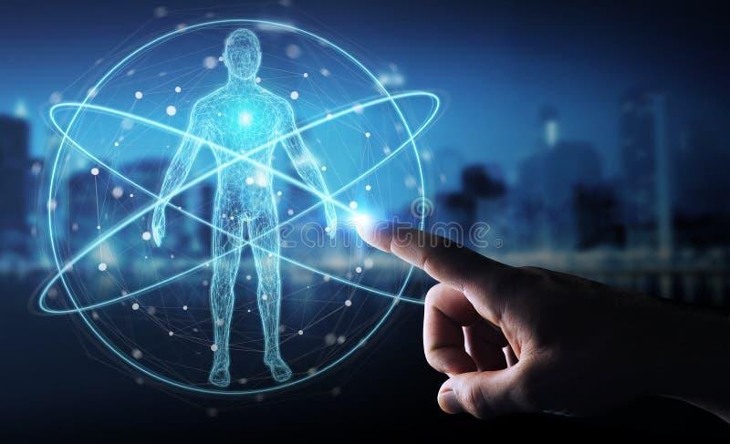 Affärsmannen som använder den digitala manöverenheten 3D för röntgenstrålemänniskokroppbildläsningen, ren royaltyfri illustrationer