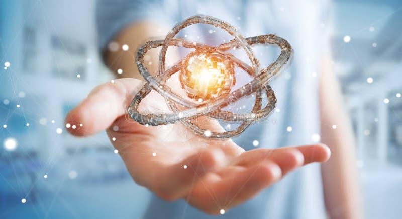 Affärsmannen som använder den futuristiska toruset, texturerade tolkningen för objekt 3D vektor illustrationer