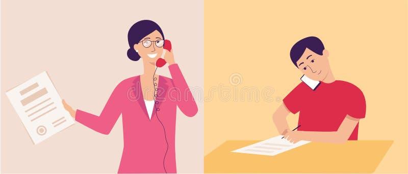 Affärsmannen som använder den plana vektorillustrationen för smartphonen eller för mobiltelefonen, isolerade vektor illustrationer