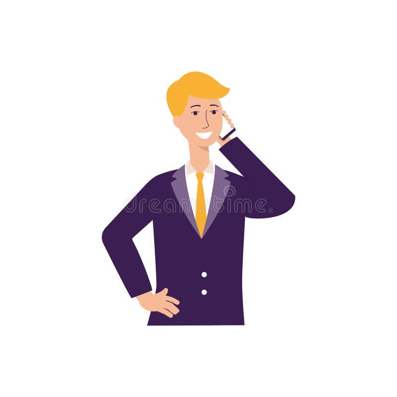 Affärsmannen som använder den plana vektorillustrationen för smartphonen eller för mobiltelefonen, isolerade royaltyfri illustrationer