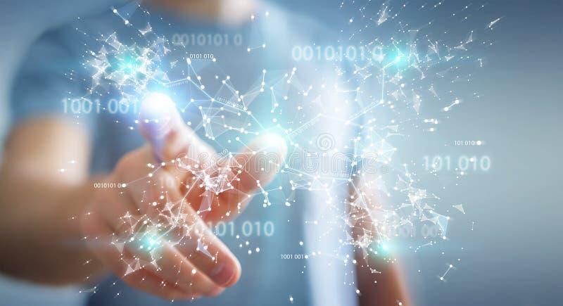 Affärsmannen som använder det digitala anslutningsnätverket 3D för den binära koden, sliter royaltyfri illustrationer