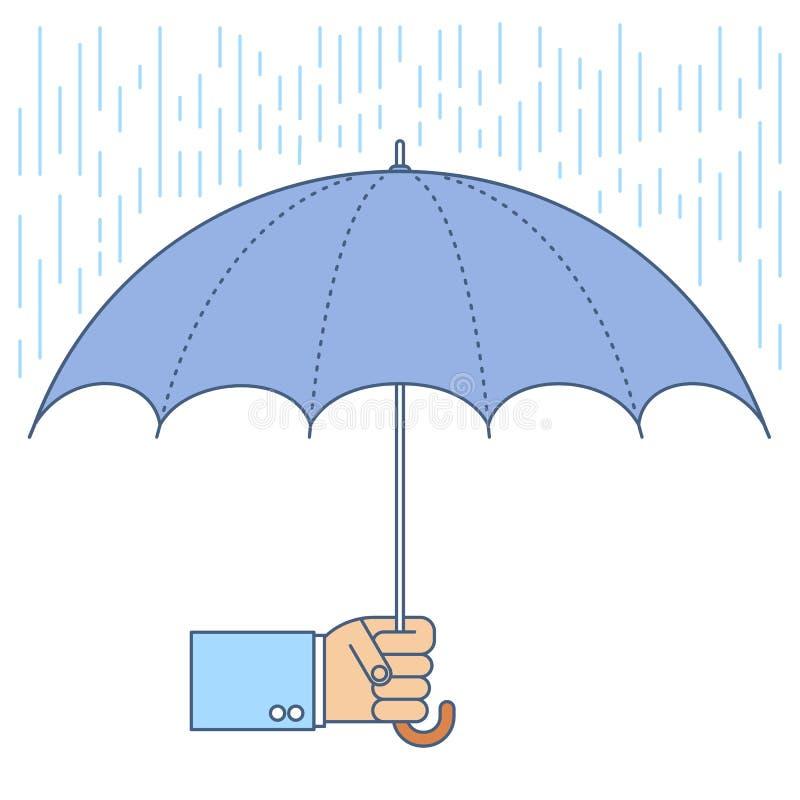 Affärsmannen som använder ett paraply, skyddar från regn vektor illustrationer