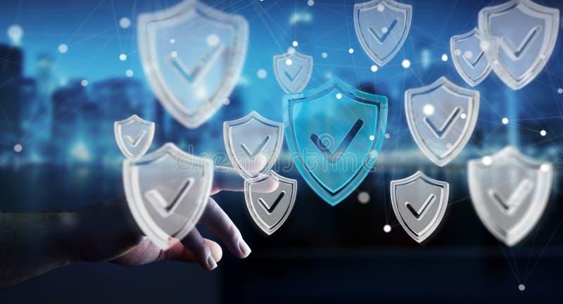 Affärsmannen som använder moderna data, skyddar tolkningen för antivirus 3D vektor illustrationer