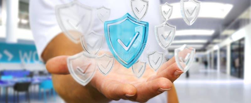Affärsmannen som använder moderna data, skyddar tolkningen för antivirus 3D royaltyfri illustrationer