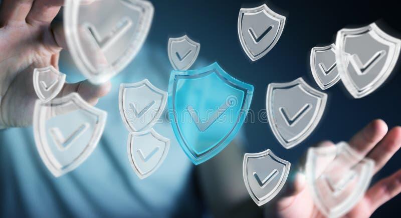 Affärsmannen som använder moderna data, skyddar tolkningen för antivirus 3D stock illustrationer