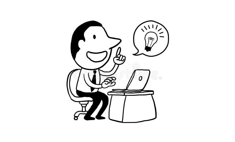 Affärsmannen som arbetar med bärbara datorn, får stor idé idérikt begrepp isolerade den drog illustrationöversiktshanden klottrar royaltyfri illustrationer