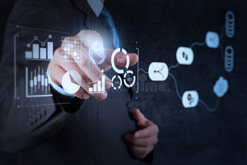 Aff?rsmannen som arbetar med, ger information f?r indikatorer f?r den nyckel- kapaciteten KPI stock illustrationer