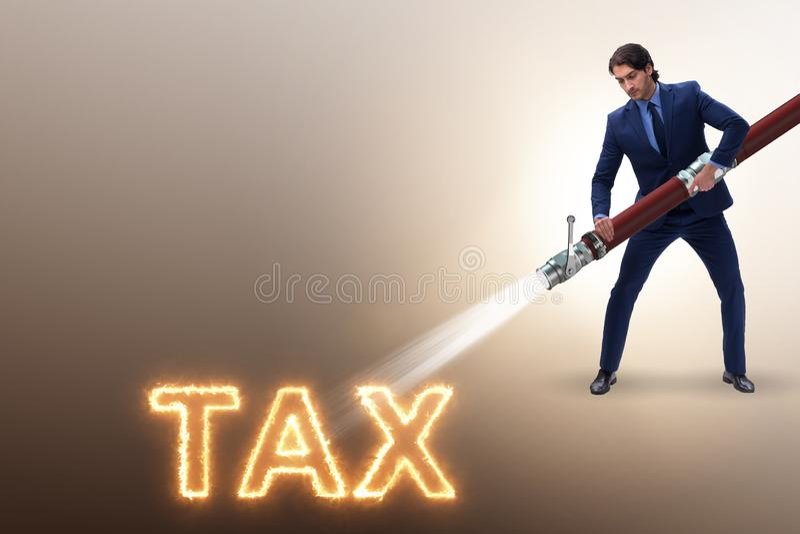 Affärsmannen som av betalar hans skatter vektor illustrationer