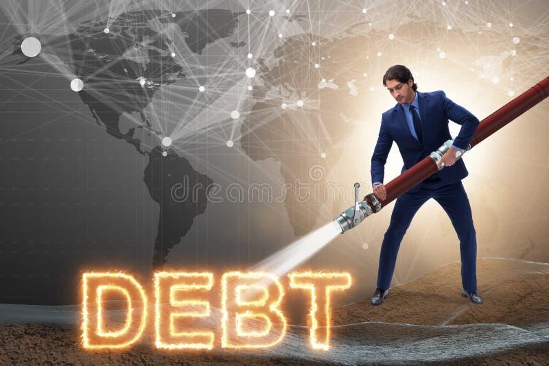 Affärsmannen som av betalar hans skulder och lån royaltyfri illustrationer