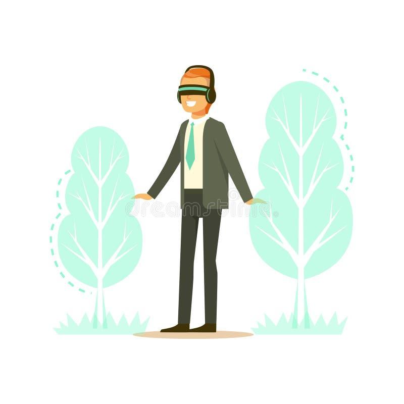Affärsmannen som bär VR-hörlurar med mikrofon med projektion för skogträdet, teknologi ökade verklighetvektorillustrationen vektor illustrationer