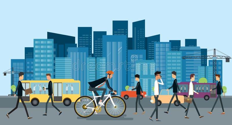 Affärsmannen som cyklar på vägen, går att arbeta i stads- med affärsfolk stock illustrationer