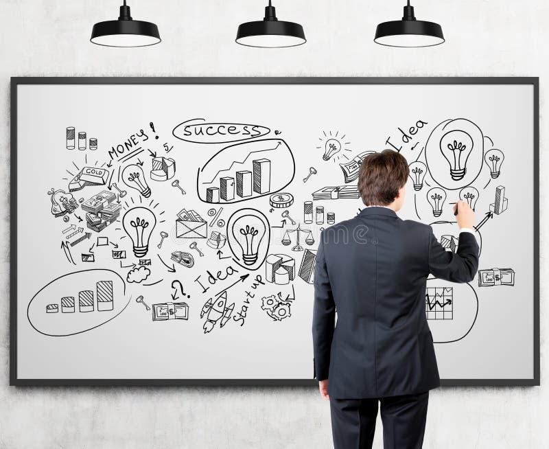 Affärsmannen som drar lyckad affärsidé, skissar på whiteboar arkivbilder