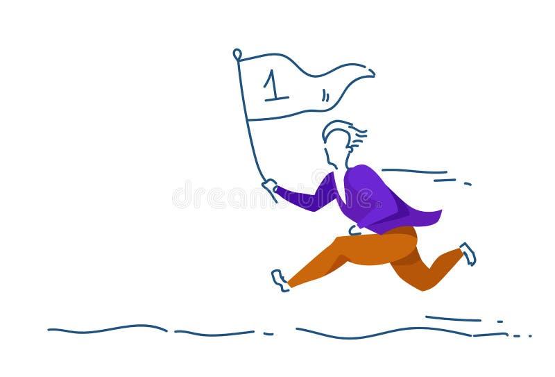 Affärsmannen som först kör mannen för begreppet för ledaren för ställeflaggalaget, färgade konturn som den horisontalfulla längde royaltyfri illustrationer