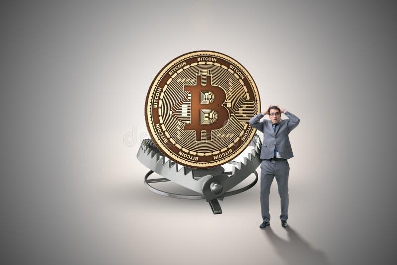 Affärsmannen som faller in i fällan av bitcoincryptocurrencyen stock illustrationer