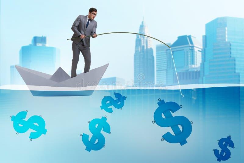 Affärsmannen som fiskar dollarpengar från det pappers- fartygskeppet royaltyfri illustrationer