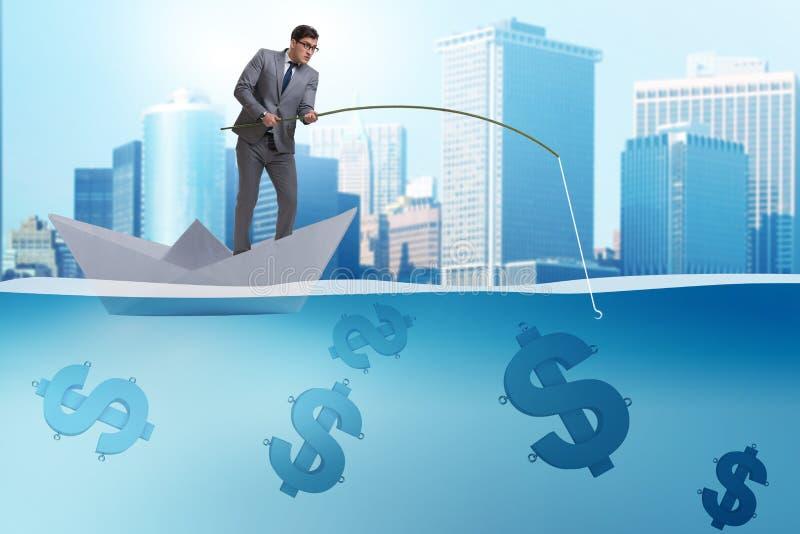 Affärsmannen som fiskar dollarpengar från det pappers- fartygskeppet vektor illustrationer