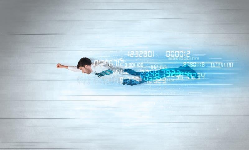 Download Affärsmannen Som Flyger Toppet Snabbt Med Data, Numrerar Kvarlämnat Fotografering för Bildbyråer - Bild av internet, glöd: 78730091