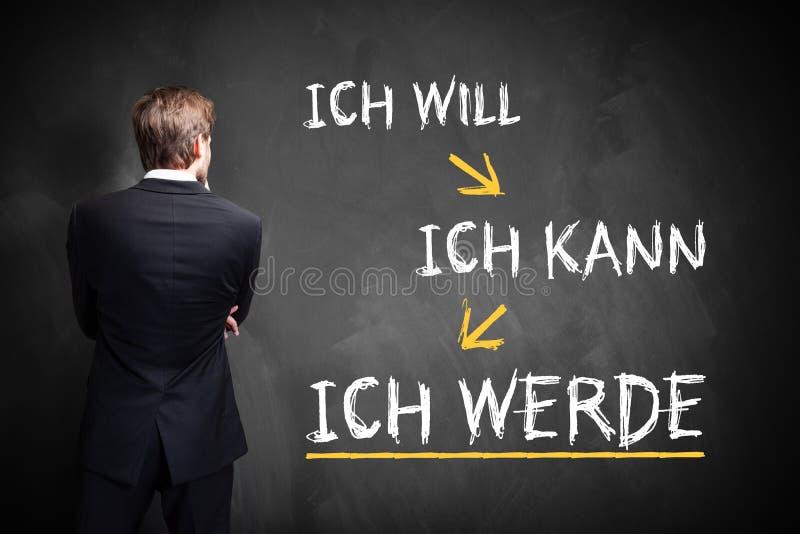 Affärsmannen som framme står av en svart tavla meddelande`en som, jag önskar, kan jag, mig skallr ` i tysk royaltyfri foto
