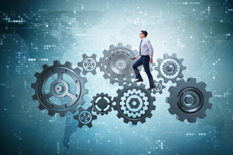 Affärsmannen som går på kugghjul i teamworkbegrepp vektor illustrationer