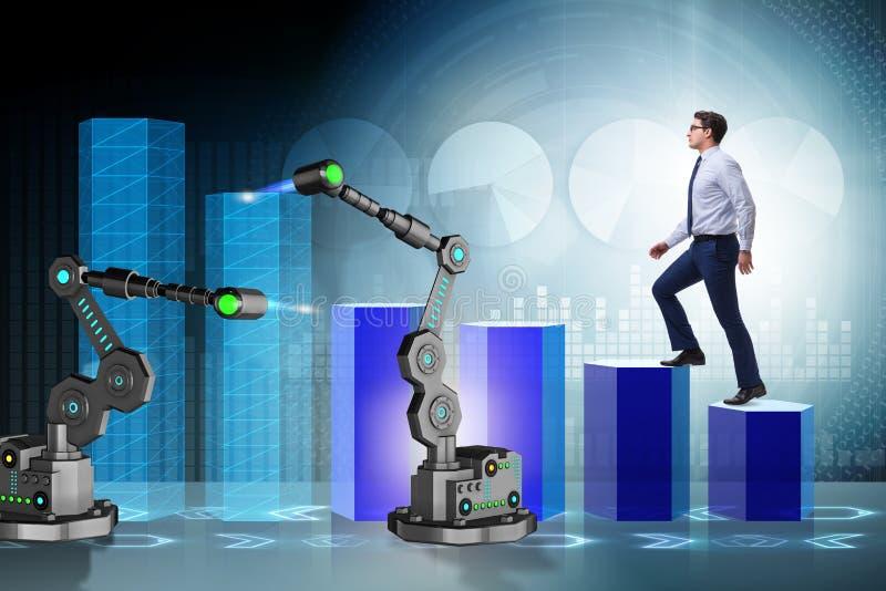 Affärsmannen som går upp diagrammet som stöttas av den robotic armen royaltyfri illustrationer