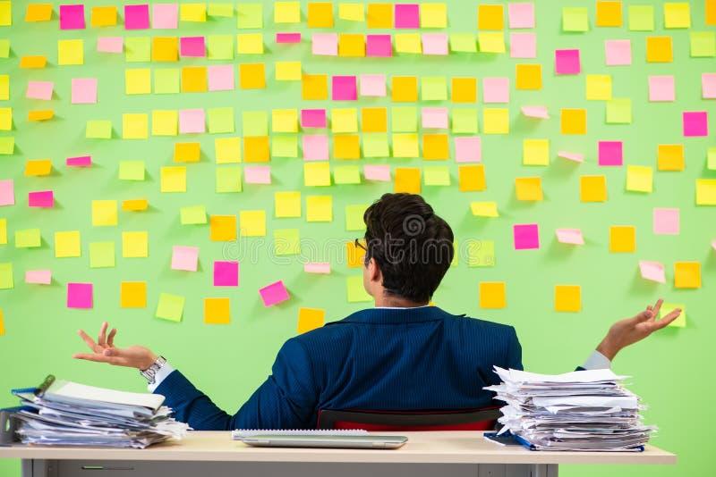 Affärsmannen som har problem med hans prioriteter arkivbild