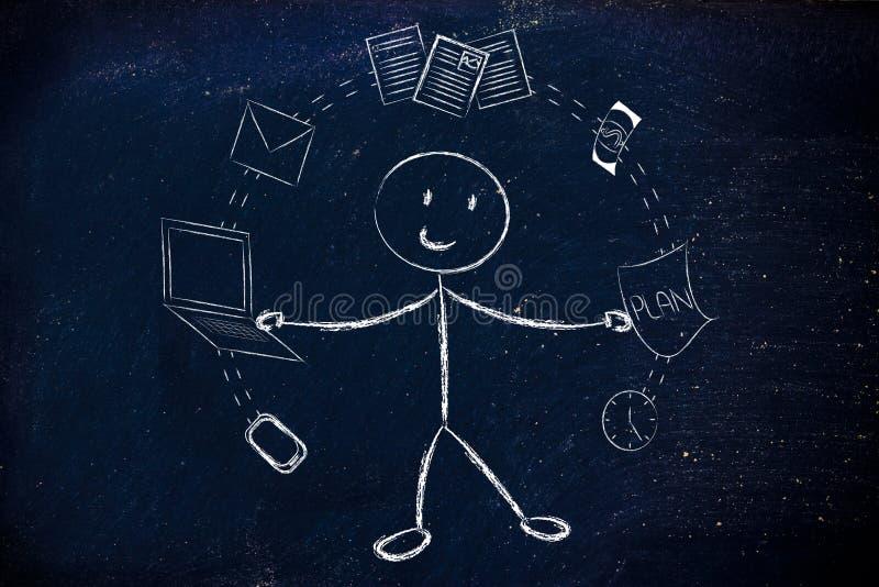 Affärsmannen som jonglerar med kontoret, anmärker, begreppet av productivien royaltyfria bilder