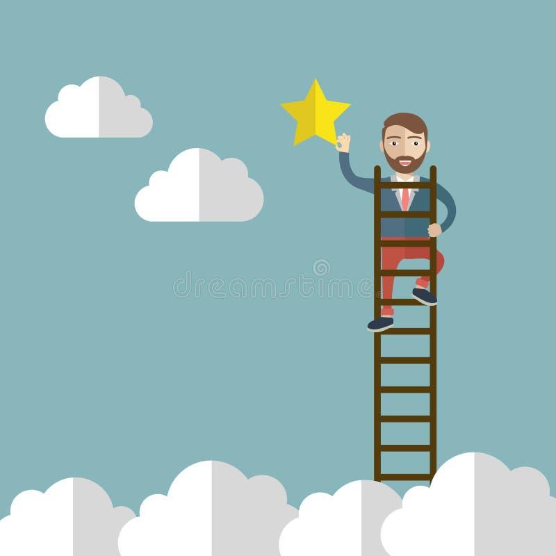 Affärsmannen som når till stjärnan, metafor till att nå till målet eller, är lyckad också vektor för coreldrawillustration stock illustrationer
