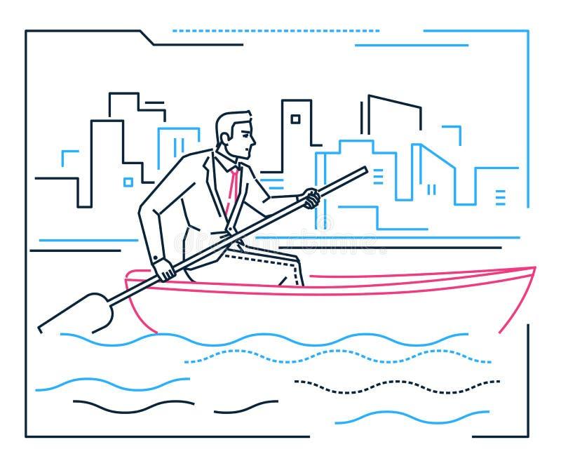 Affärsmannen som ror ett fartyg - fodra designstilillustrationen royaltyfri illustrationer