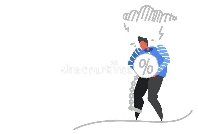 Affärsmannen som rymmer procent, bombarderar kedjan begränsar mannen för affären för begreppet för krisen för finans för benkredi royaltyfri illustrationer