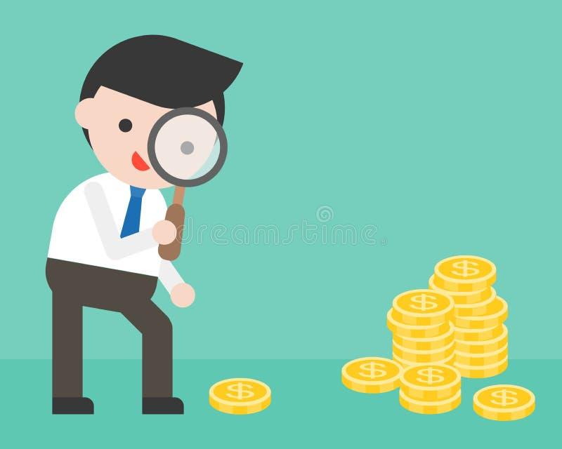 Affärsmannen som ser pengar till och med förstoringsglaset, affär sitter royaltyfri illustrationer