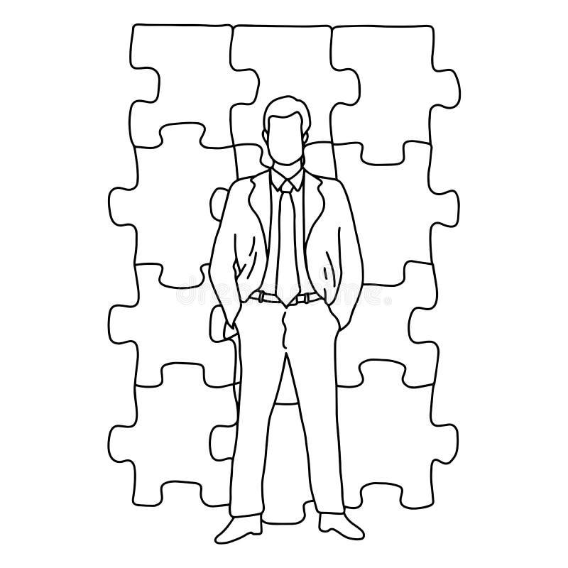 Affärsmannen som står av pusselvektorillustration, skissar framme klotterhanden som dras med svarta linjer som isoleras på vit royaltyfri illustrationer