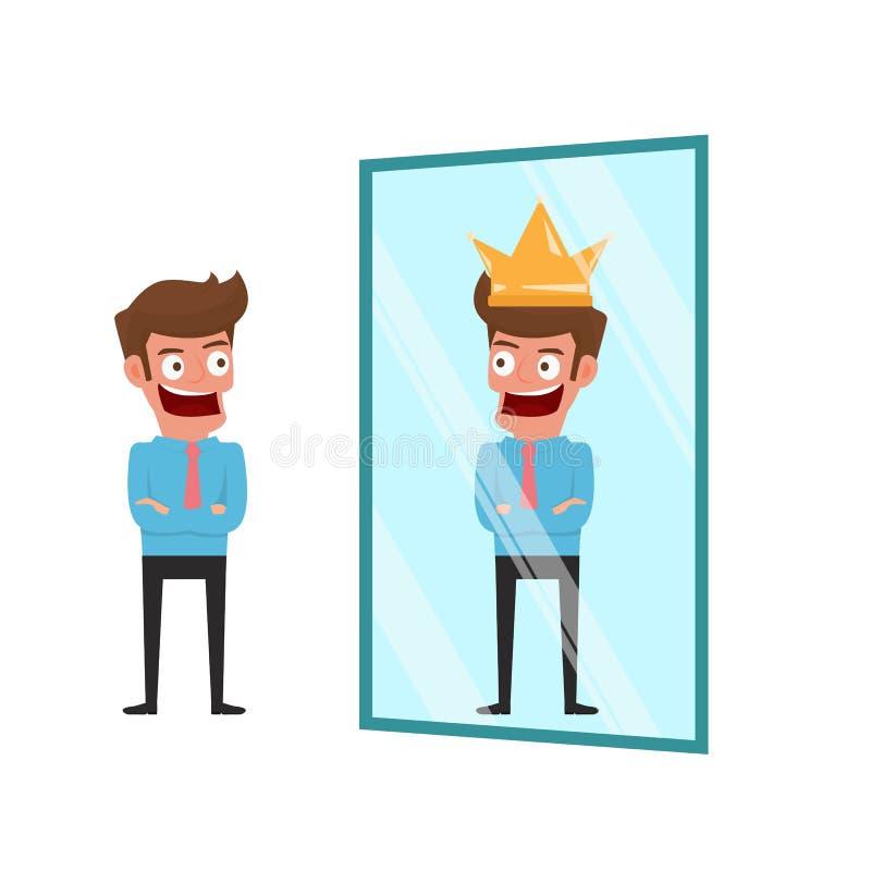 Affärsmannen som står framme av spegeln, kan se lyckad reflexion affärsidé isolerad framgångswhite stock illustrationer