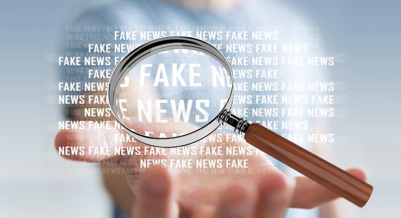 Affärsmannen som upptäcker, fejkar tolkningen för information 3D om nyheterna royaltyfri illustrationer