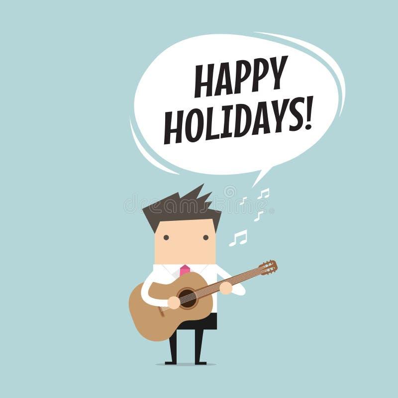 Affärsmannen spelar en gitarr och lyckliga ferier för allsång stock illustrationer