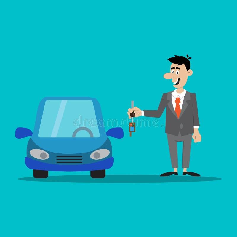 Affärsmannen tangenterna till bilen vektor illustrationer
