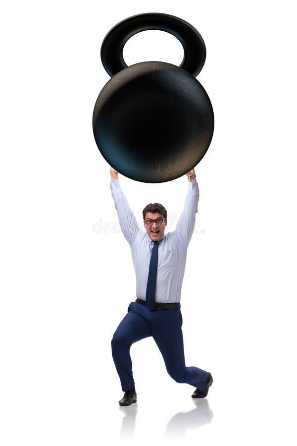 Affärsmannen under tung börda på vit bakgrund arkivfoton