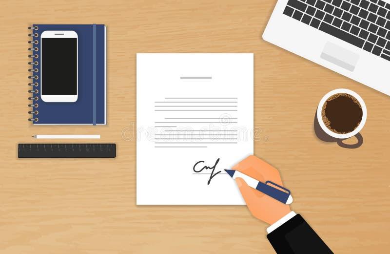Affärsmannen undertecknar ett avtal royaltyfri illustrationer