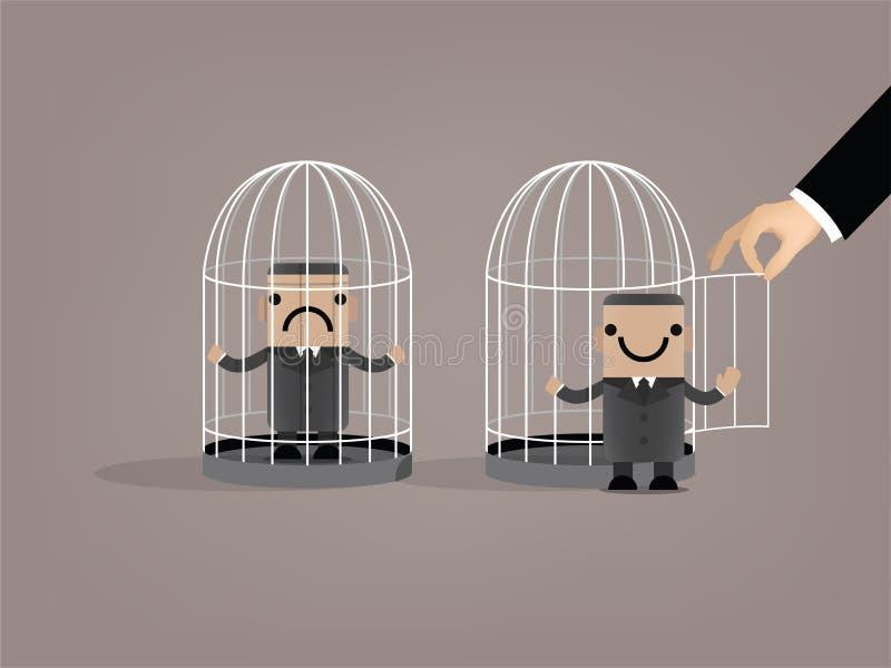 Affärsmannen var utsläppt från fågelbur royaltyfri illustrationer