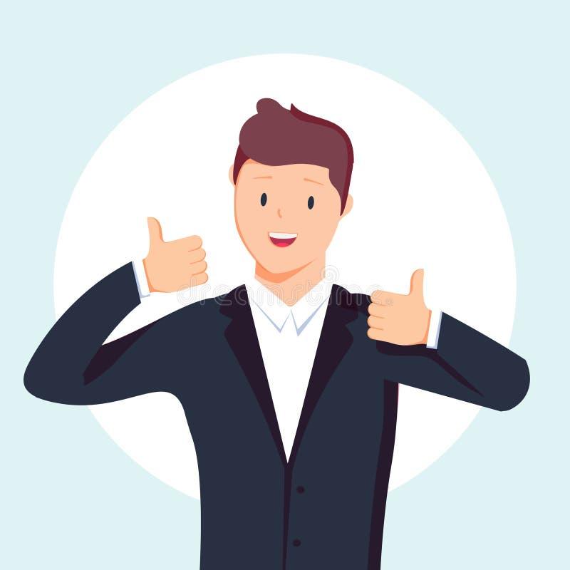Affärsmannen visar upp båda händer en teckentumme Vektor lägenhet, illustration vektor illustrationer