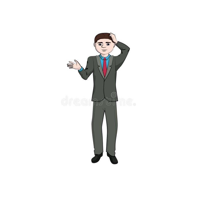 Affärsmanpojke, förbryllad man stock illustrationer