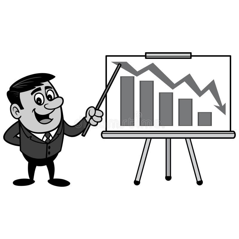 AffärsmanProfit Loss Presentation illustration royaltyfri illustrationer