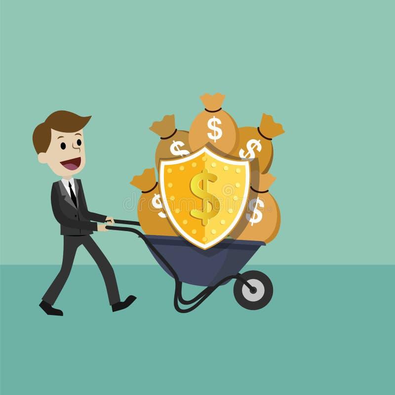 AffärsmanProtecting Money With sköld och svärd skydda pengar från skatt och skuld med svärdet och skölden vektor illustrationer