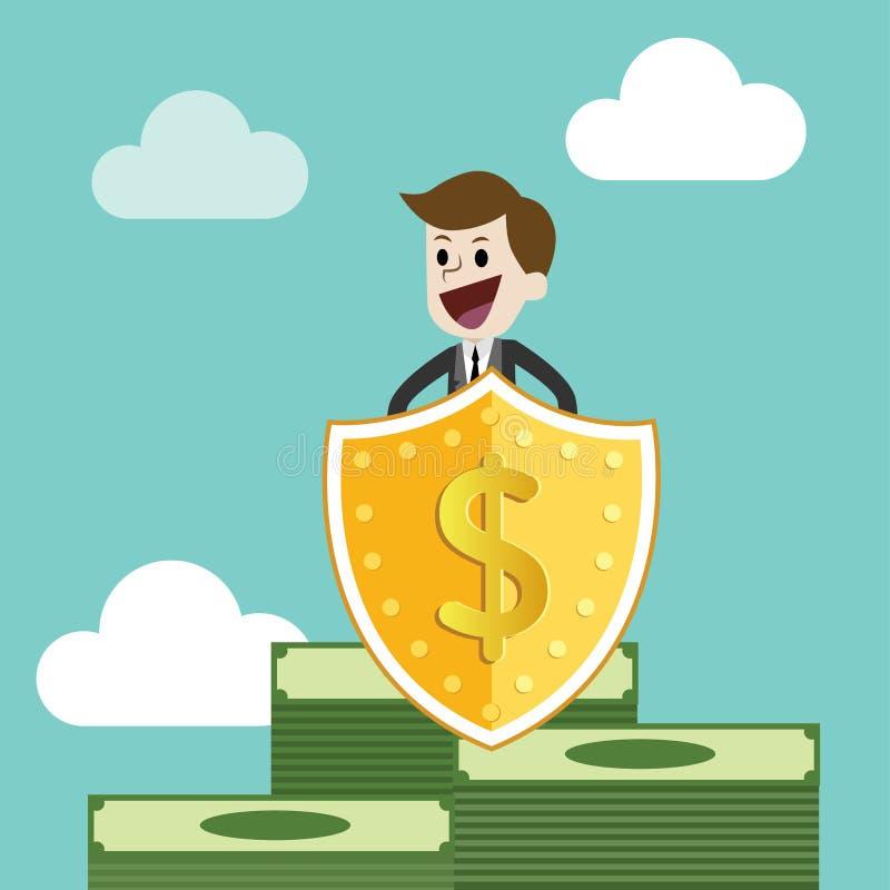 AffärsmanProtecting Money With sköld och svärd skydda pengar från skatt och skuld med svärdet och skölden stock illustrationer
