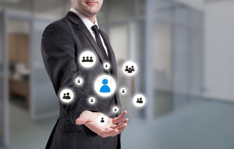 Affärsmanpunkter till symbol-timme, rekrytering och det valda begreppet royaltyfria bilder